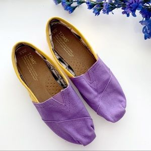 Toms Purple & Yellow Canvas Slip Ons
